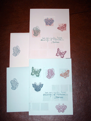 Two different sets of small butterfly stamps