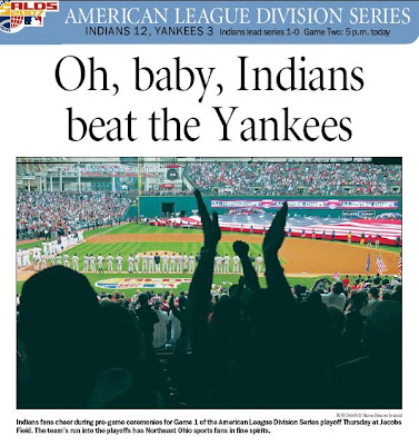 Oh Baby: Indians Beat the Yankees -- Akron Beacon Journal 10/5/07