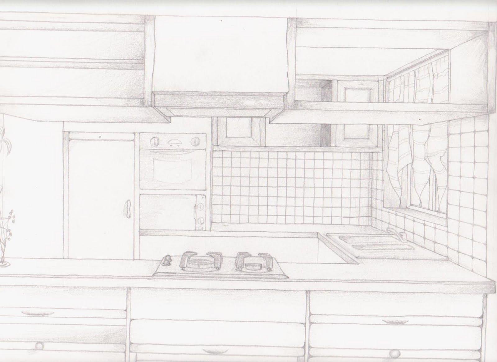 Voici un dessin à main levé d une cuisine en u