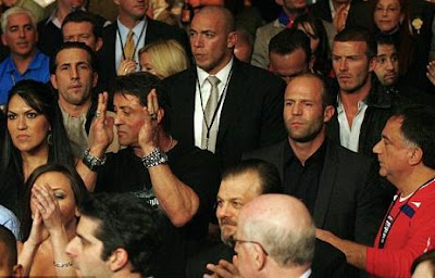 David Beckham and Sylvester Stallone