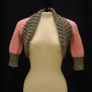 Grey and Pink Bolero Jacket is currently for sale on etsy