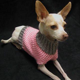 This pink and grey dog sweater is available at www.AllThingsTangled.etsy.com