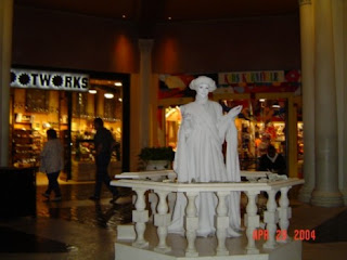 Yes, that's me standing really really still as a living statue at the Venetian.