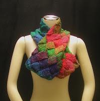 Rainbow Entrelac scarflette, 51 hearts!