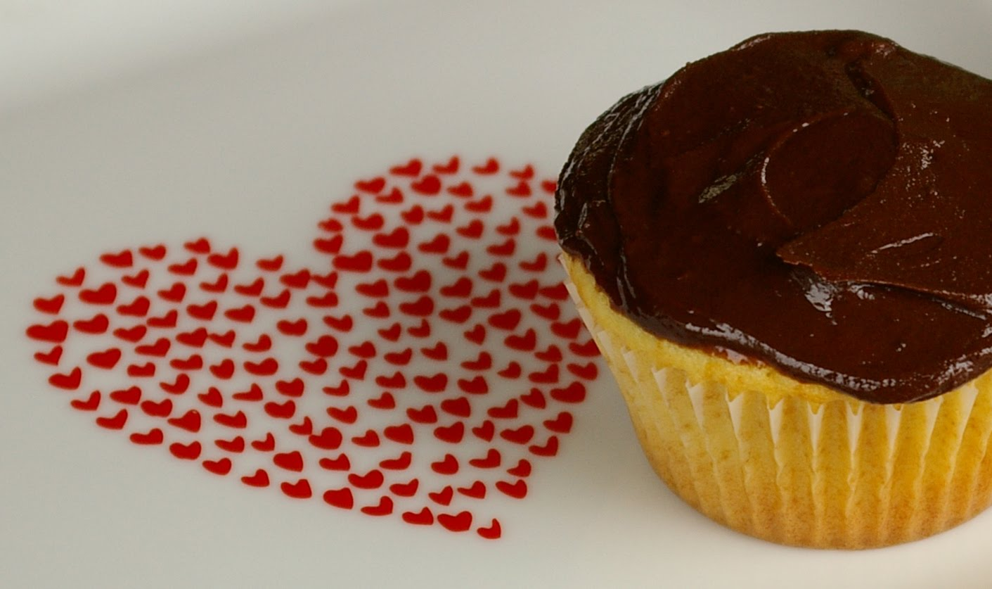 ... Two Bites: Yellow Buttermilk Cupcakes with Dark Chocolate Frosting