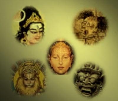 As cinco Raças espirituais: Devas, Asuras, Homens, Pretas, Râkchasas