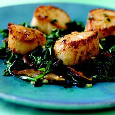 seared scallops with wilted greens recipes dishmaps seared scallops ...