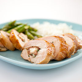 ... Dish: Grilled Stuffed Chicken Breasts with Prosciutto and Muenster