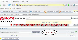 screenshot of yahoo page , add your site to yahoo search