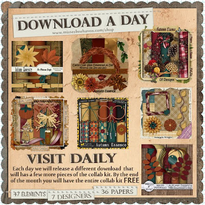 Autumn Essence Download a Day Freebie Kit at Misses BeeHaven - get this fall collab kit FREE this month at MBH