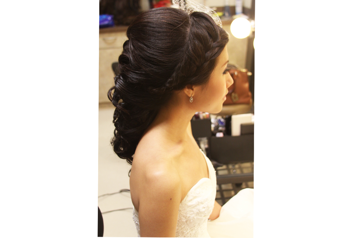 Half up half down curly wedding hairstyle martha stewart weddings Angled brown bob  E   best rihanna hairstyle