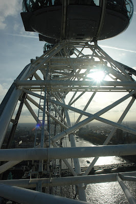Sun shining through the spokes of the London Eye wheel