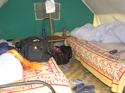The inside of the tent in the Saatal camp