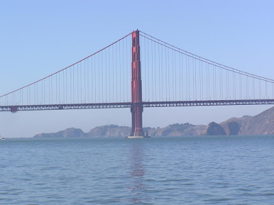 The central pillar of the Golden Gate Bridge