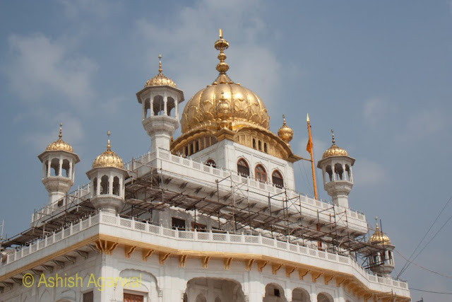 The Golden Dome and structure of the Akal Takht inside the Golden Temple in Amritsar