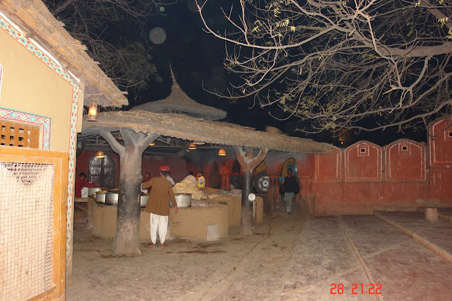 Photo of preparing food for the large number of visitors in the tourist village of Chokhi Dhani near Jaipur