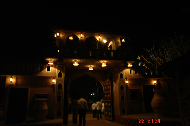 Scene of Chokhi Dhani when leaving at night, in darkness