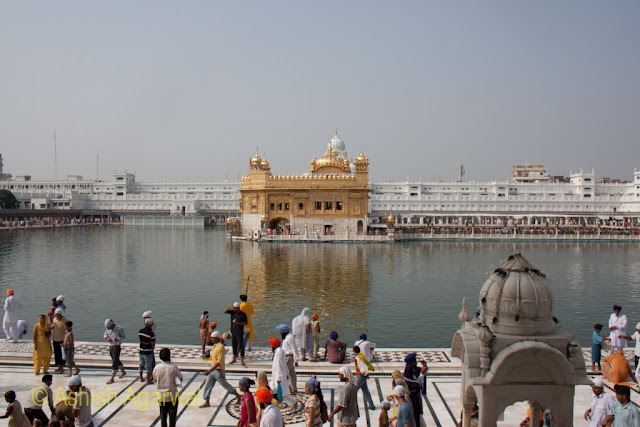 View of the Harmandir Sahib from the steps leading to the inside compound