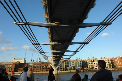 Passing under the millenium Bridge in London