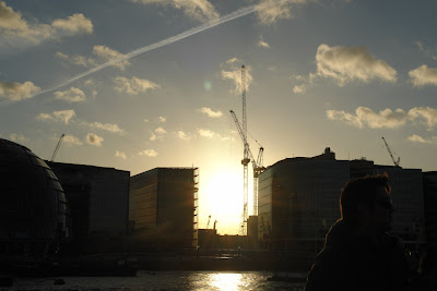 Sunset in London between buildings
