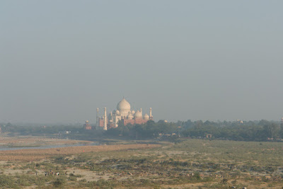 A view of the Taj Mahal from a distance