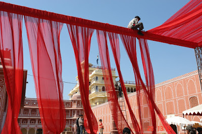Photo of people working on decorations inside the Jaipur City Palace