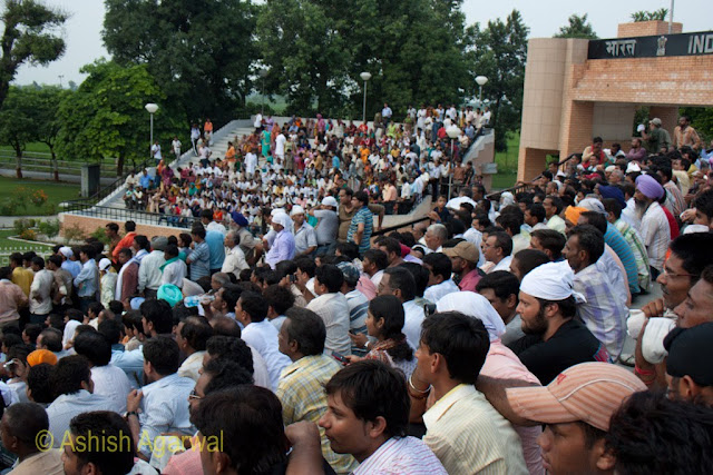 View of the crowd at the structure at the Wagah Border between India and Pakistan