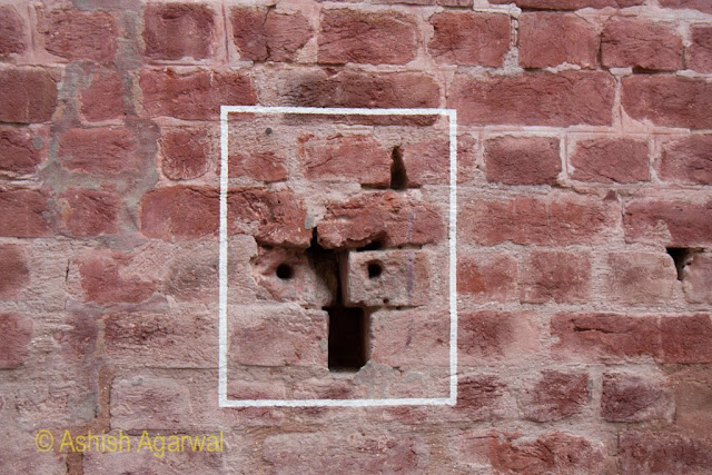 Bullets in the wall in Jallianwala Bagh - signs of the massive firing that went on in 1919