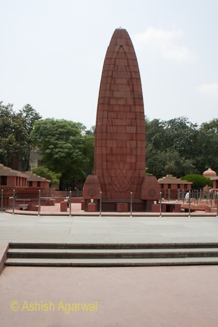 View of the center monument in the Jallianwala Bagh memorial in Amritsar