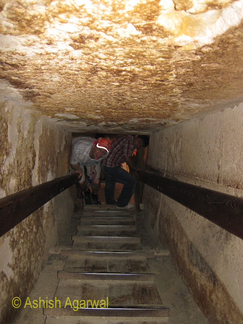Cairo Pyramids - entrance to the burial chamber inside a smaller pyramid
