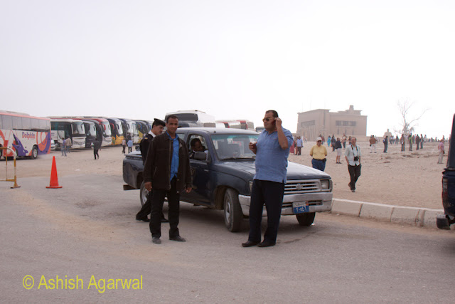 Cairo Pyramid - Police near the parking of the Great Pyramid in Giza