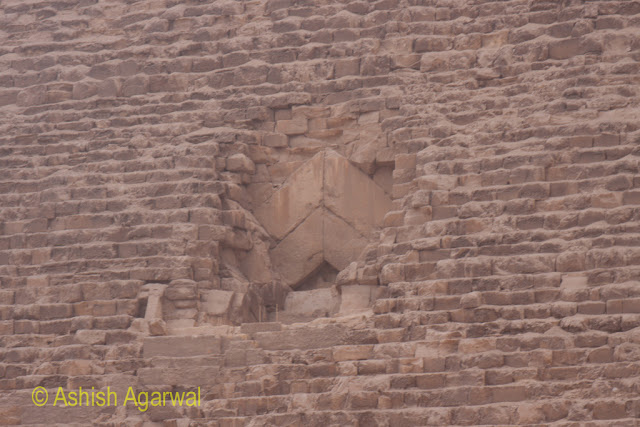Cairo Pyramids - The entrance gate to the burial chamber of the Great Pyramid