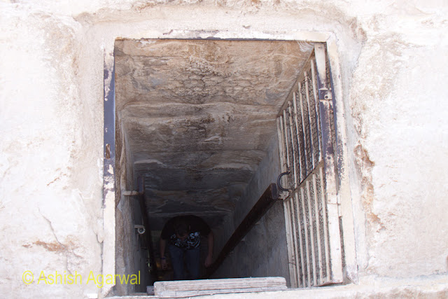 Cairo Pyramids - View of the steep ladder leading down into the burial chamber of the structure next to the Great Pyramid
