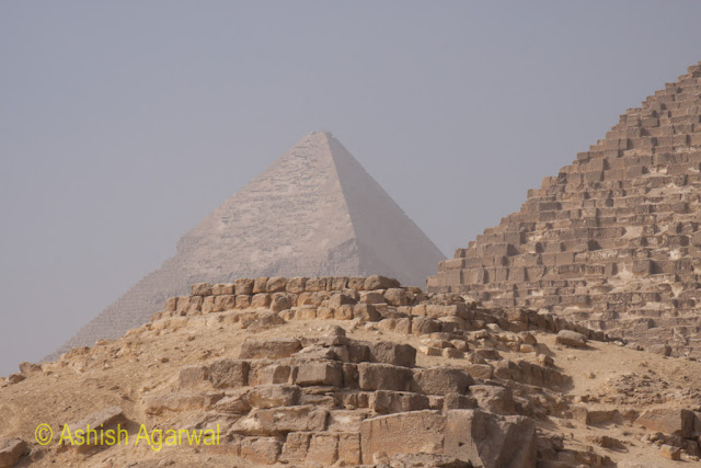 Cairo Pyramid - View of 2 of the large pyramids at the Great Pyramid of Giza