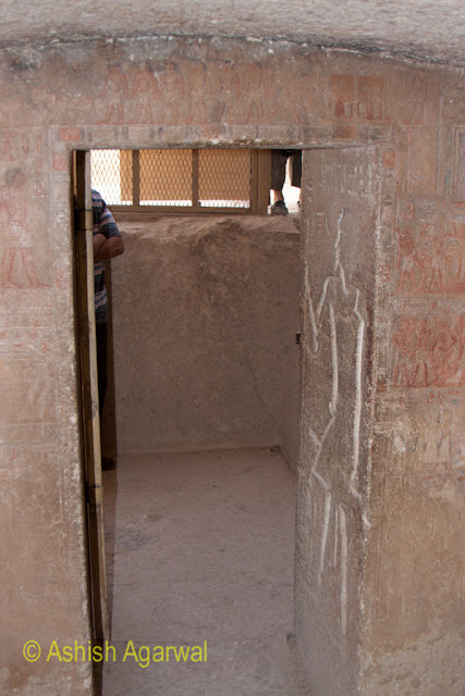 Cairo Pyramid - The door leading to an underground chamber right next to the Great Pyramid in Giza