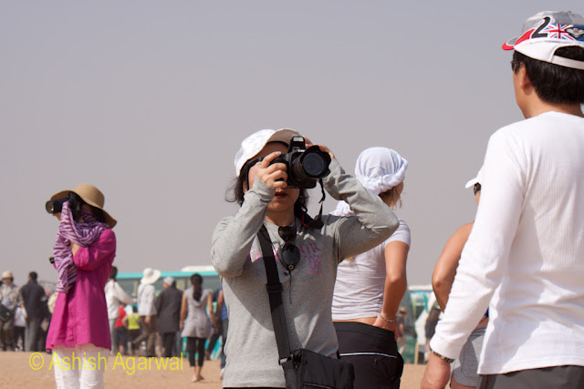 Cairo Pyramids - Tourists with their cameras at the Panorama point near Giza
