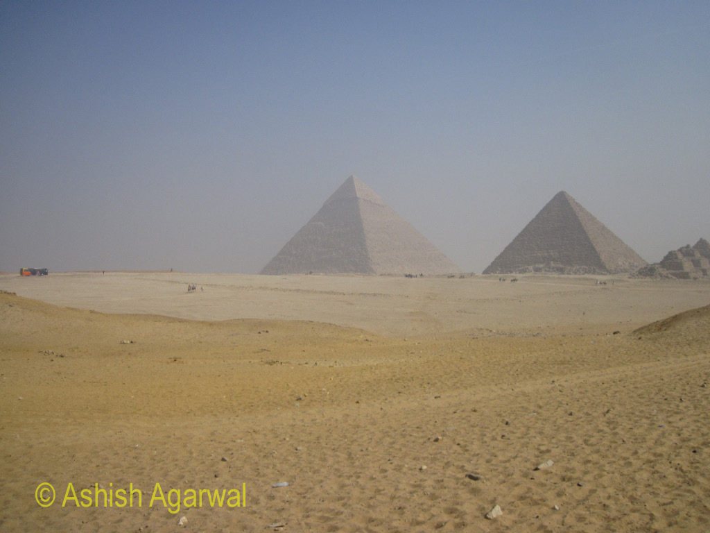 View of the Great Pyramids from the Panorama Point in Giza
