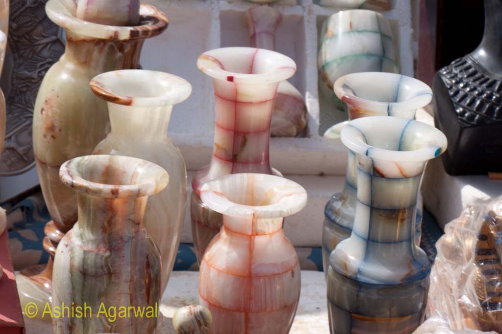 Vases made from albaster for sale at the Panorama Point in Giza