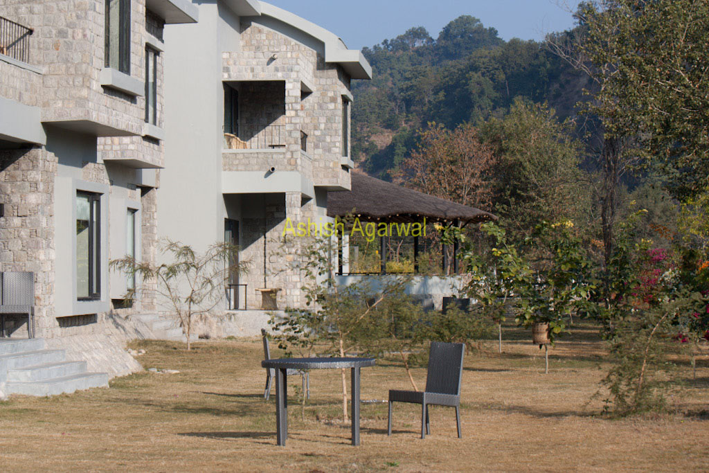 Chairs set outside cottages in the Club Mahindra resort in Corbett National Park in North India