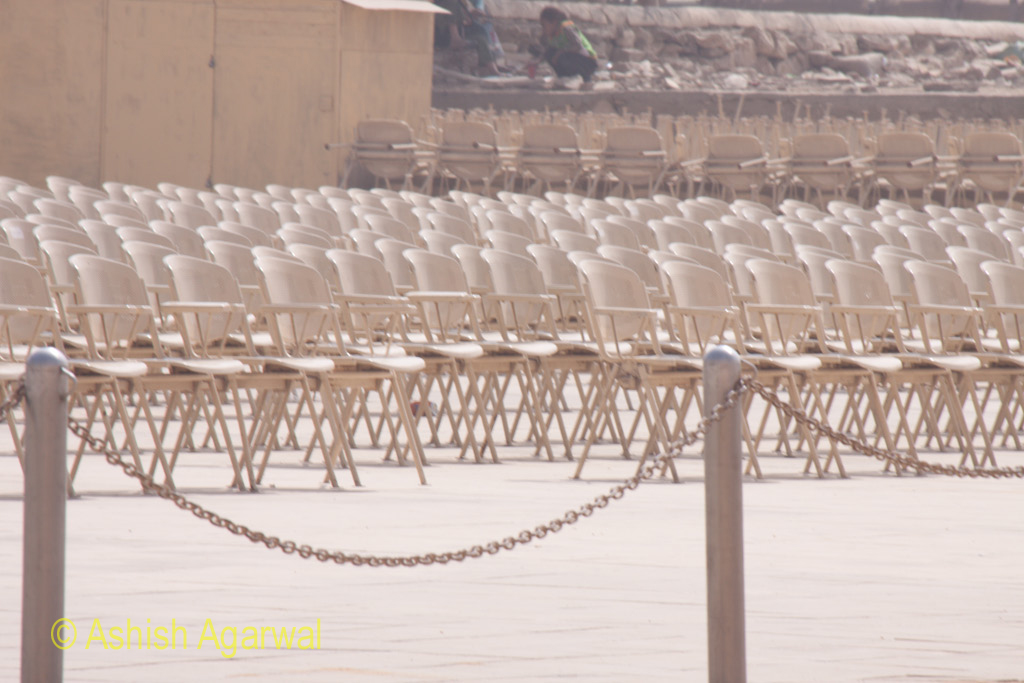 Chairs arranged in rows for the Sound and Light show at the Pyramids in Giza