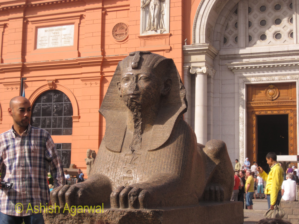 A giant statue just outside the door of the Egyptian Museum