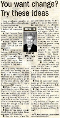 Norma White article You Want Change?