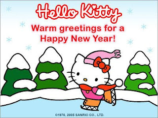 Hello Kitty Cartoon New Year Wallpaper