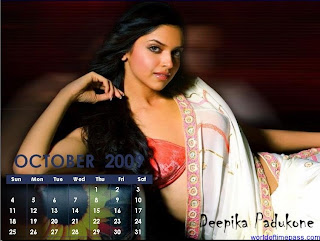 deepika padukone october 2009 calendar wallpaper