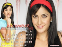 Katrina Kaif 2010 December Calendar Wallpapers