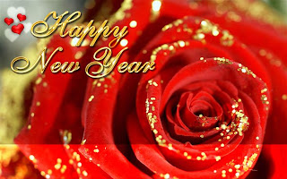 new year wishes with a rose