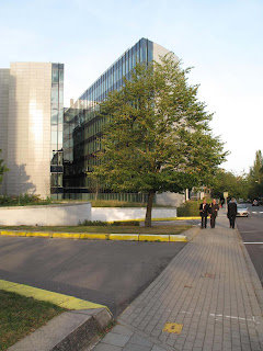 The European Commision buildings where the external review took place. Miklos Gyori and Jaap Erasmus are in front