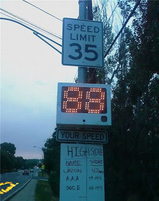 funny speed street sign