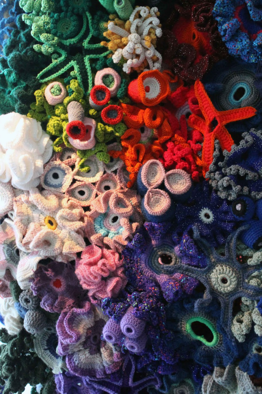 Crochet Coral Reef : The Station Spin: Hyperbolic Crochet Coral Reef