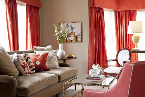 Beige And Brown With Red Accent Wall (4 Image)